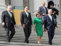 WASHINGTON, DC - MARCH 12: U.S. House Speaker Nancy Pelosi (D-CA), Irish Taoiseach Leo Varadkar (2nd L), Rep. Peter King (R-NY) and Rep. Richard Neal (D-MA) (R) walk out of the U.S. Capitol after the annual Friends of Ireland luncheon at the Rayburn Room of U.S. Capitol March 12, 2020 …
