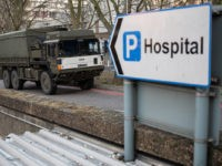 LONDON, UNITED KINGDOM - MARCH 24: A military lorry is seen as members of the 101 Logistic Brigade of the British Army deliver a consignment of medical masks to St Thomas' hospital on March 24, 2020 in London, England. British Prime Minister, Boris Johnson, announced strict lockdown measures urging people …