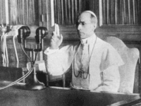 circa 1942: Pope Pius XII (1876 - 1958), born Eugenio Maria Guiseppe Giovanni Pacelli in Rome, makes a radio broadcast from the Vatican. His message is a prayer for peace at Christmas, and an end to World War II. (Photo by Keystone/Getty Images)