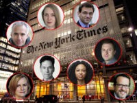(INSETS: Clifford Levy, Julie Bosman, Pete Baker, Sharon LaFraniere, Michael Cooper, Mike Baker, Mara Gay, Aaron E. Carroll) New York, NY, USA - July 11, 2016: Headquarters of The New York Times in night