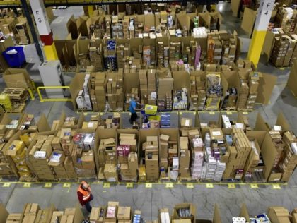 """Picture shows the Amazon electronic commerce company's logistics center in San Fernando de Henares, near Madrid, on the eve of """"Black Friday"""", on November 24, 2016. (Photo by GERARD JULIEN / AFP) (Photo credit should read GERARD JULIEN/AFP via Getty Images)"""