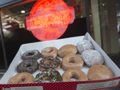 Krispy Kreme doughnuts are seen outside their store in Washington, DC, December 1, 2016. / AFP / SAUL LOEB (Photo credit should read SAUL LOEB/AFP via Getty Images)