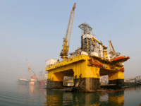 "This photo taken on February 13, 2017 shows a semi-submersible drilling platform in the waters off Yantai, in China's Shandong province. China has joined efforts to tap the world's vast deposits of natural gas hydrates or ""combustible ice"", but it will be years before the fossil fuel is part of …"