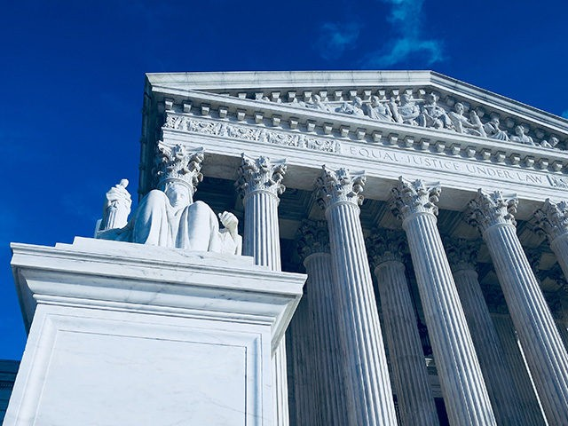 View of the US Supreme Court Building on a bright Christmas Day