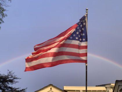 American flag rainbow (Joel Pollak / Breitbart News)