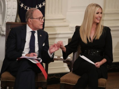 WASHINGTON, DC - OCTOBER 31: Director of the National Economic Council Larry Kudlow and Advisor to the President Ivanka Trump listen to guests during an event for American workers in the State Dining Room of the White House on October 31, 2018 in Washington, DC. (Photo by Mark Wilson/Getty Images)