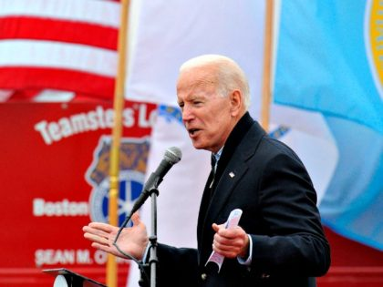 Former US Vice President Joe Biden speaks at a rally organized by UFCW Union members in Dorchester, Mass., on April 18, 2019. Photo: Joseph Prezioso/AFP/Getty Images
