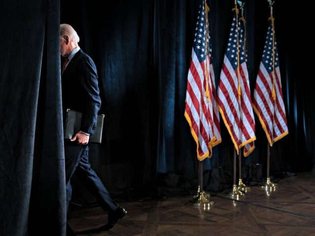WILMINGTON, DE - MARCH 12: Democratic presidential candidate former Vice President Joe Biden leaves the lectern after delivering remarks about the coronavirus outbreak, at the Hotel Du Pont March 12, 2020 in Wilmington, Delaware. Health officials say 11,000 people have been tested for the Coronavirus (COVID-19) in the U.S. (Photo …