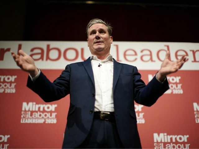 DUDLEY, ENGLAND - MARCH 08: L-R) Sir Keir Starmer, Shadow Secretary of State for Exiting the European Union, addresses the audience during the last Labour Party Leadership hustings at Dudley Town Hall on March 08, 2020 in Dudley, England. Sir Keir Starmer, Rebecca Long-Bailey and Lisa Nandy are vying to …