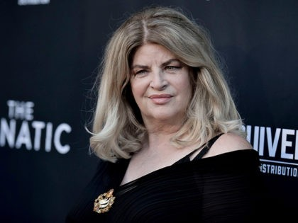"""Kirstie Alley attends the LA premiere of """"The Fanatic"""" at the Egyptian Theatre on Thursday, Aug. 22, 2019, in Los Angeles. (Photo by Richard Shotwell/Invision/AP)"""