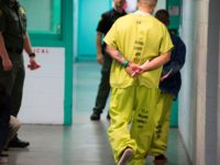 Men wearing neon-colored jail clothes signifying immigration detainees walk down a hall at the Theo Lacy Facility, a county jail which houses convicted criminals as well as immigration detainees arrested by the US Immigration and Customs Enforcement (ICE), March 14, 2017 in Orange, California, about 32 miles (52km) southeast of …