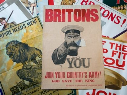 """BLANDFORD FORUM, ENGLAND - JULY 08: First World War recruitment posters including the Alfred Leete's Lord Kitchener's """"Wants You"""" original recruiting poster from 1914 that is estimated at £10000 - £15000 and that are being sold tomorrow in the Onslows Auctioneers, The Great War Centenary and Summer Vintage Posters Auction …"""