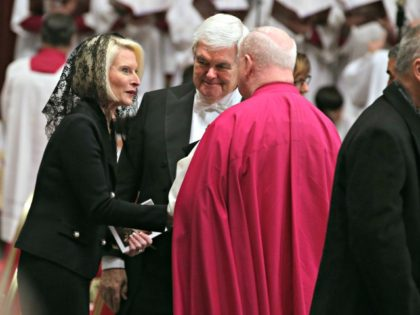 VATICAN CITY, VATICAN - DECEMBER 21: Us ambassador Callista Gingrich and her husband Newt Gingrich attend the funeral for disgraced US Cardinal Bernard Law former Archbishop of Boston at the St. Peter's Basilica on December 21, 2017 in Vatican City, Vatican. (Photo by Franco Origlia/Getty Images)