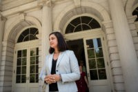NEW YORK, NY - JULY 19: Nicole Malliotakis, Republican New York City mayoral candidate, leaves City Hall after delivering a letter demanding information about Mayor Bill De Blasio's foreign travel, July 19, 2017 in New York City. She discussed what she described as 'the lack of transparency surrounding Mayor de …