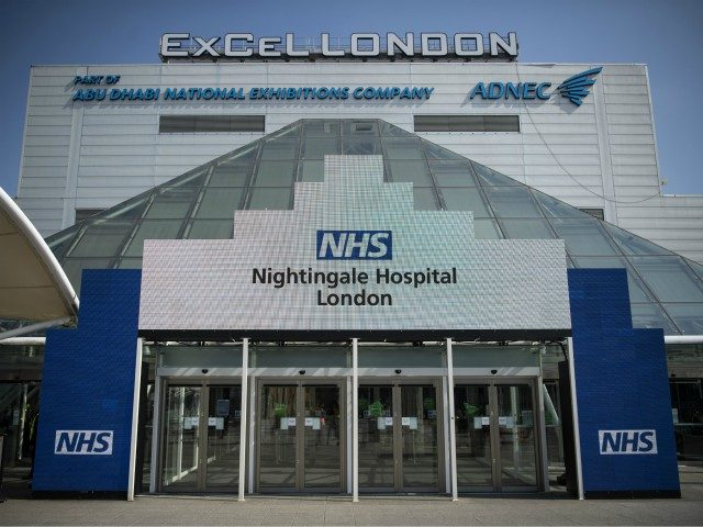 LONDON, ENGLAND - MARCH 27: A general view of the Excel NHS Nightingale Hospital in East London on March 27, 2020 in London, England. The field hospital will initially contain 500 beds with ventilators and oxygen and will have the capacity to eventually hold up to 4,000 COVID-19 patients. (Photo …