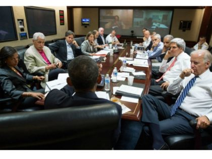 The White House press office shows President Obama addressing his national security advisors in the Situation Room of the White House on Saturday. PETE SOUZA/White House