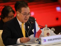 Philippines' Foreign Minister Teodoro Locsin makes the opening remarks at the Association of Southeast Asian Nations (ASEAN) China Ministerial Meeting in Bangkok on July 31, 2019. (Photo by Lillian SUWANRUMPHA / AFP) (Photo credit should read LILLIAN SUWANRUMPHA/AFP via Getty Images)