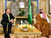 US Secretary of State Mike Pompeo (L) takes part in a meeting with Saudi Arabia's Crown Prince Mohammed bin Salman in Jeddah, Saudi Arabia on September 18, 2019. (Photo by MANDEL NGAN / POOL / AFP) (Photo credit should read MANDEL NGAN/AFP via Getty Images)