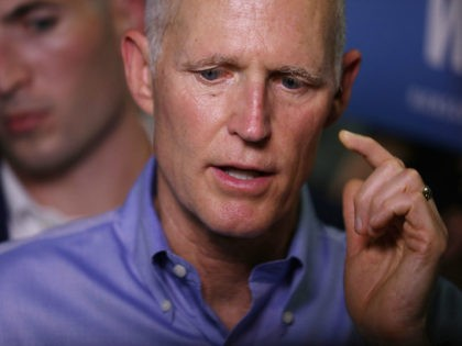 Florida governor and Republican senatorial candidate Rick Scott speaks to the media as he attends a Get out the Vote Rally at AmeriKooler on November 05, 2018 in Hialeah, Florida. Governor Scott is facing off against Sen. Bill Nelson (D-FL) on election day. (Photo by Joe Raedle/Getty Images)