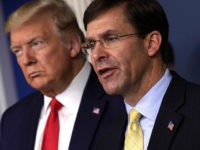 WASHINGTON, DC - MARCH 18: U.S. Secretary of Defense Mark Esper speaks as President Donald Trump listens during a news briefing on the latest development of the coronavirus outbreak in the U.S. at the James Brady Press Briefing Room at the White House March 18, 2020 in Washington, DC. President …