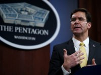Secretary of Defense Mark Esper speaks at a press conference with British Defence Secretary Ben Wallace (out of frame) in the briefing room at the Pentagon on March 5, 2020 in Washington, DC. (Photo by Olivier DOULIERY / AFP) (Photo by OLIVIER DOULIERY/AFP via Getty Images)