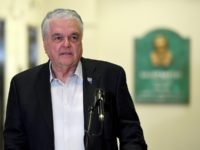 LAS VEGAS, NEVADA - MARCH 17: Nevada Gov. Steve Sisolak speaks during a news conference on the state's response to the coronavirus outbreak at the Grant Sawyer State Office Building on March 17, 2020 in Las Vegas, Nevada. Sisolak announced a statewide closure of all nonessential businesses by noon on …