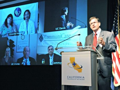 SACRAMENTO, CA - AUGUST 17: In this handout photo released by the California Telehealth Network (CTN) , Dr. Tom Nesbitt, Chancellor Strategic Technologies and Alliances, University of California Davis Health System speaks during the launch of the California Telehealth Network August 17, 2010 in Sacramento, California. The system uses Broadband …