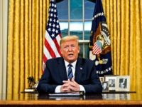 WASHINGTON, DC - MARCH 11: US President Donald Trump addresses the nation from the Oval Office about the widening coronavirus crisis on March 11, 2020 in Washington, DC. President Trump said the US will suspend all travel from Europe for the next 30 days. Since December 2019, coronavirus (COVID-19) has …