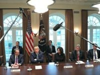 WASHINGTON, DC - MARCH 11: - U.S. President Donald Trump meets with CEOs of major banks to discuss the coronavirus response in the Cabinet Room at the White House, on March 11, 2020 in Washington, DC. (Photo by Mark Wilson/Getty Images)
