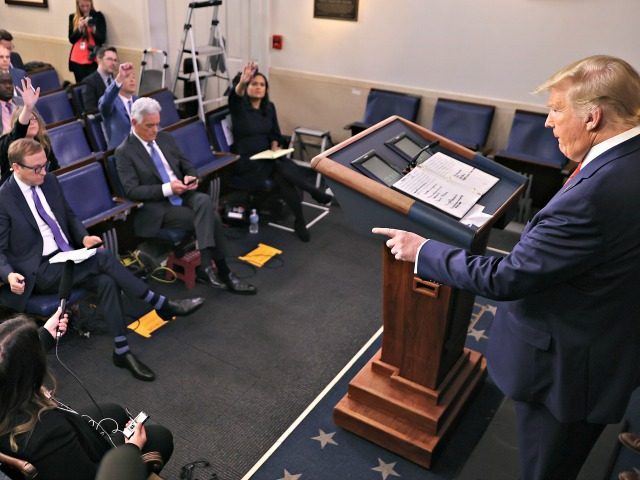 WASHINGTON, DC - MARCH 19: U.S. President Donald Trump calls on reporters during a news conference with members of his Coronavirus Task Force in the Brady Press Briefing Room at the White House March 19, 2020 in Washington, DC. With Americans testing positive from coronavirus rising President Trump is asking …