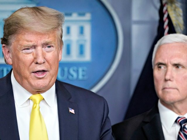 WASHINGTON, DC - MARCH 09: U.S. President Donald Trump speaks as Vice President Mike Pence looks on during a press briefing with members of the White House Coronavirus Task Force team in the press briefing room of the White House March 9, 2020 in Washington, DC. President Trump said he …
