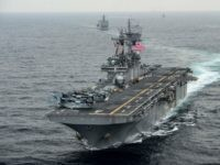 AT SEA - MARCH 8: In this handout photo provided by the U.S. Navy, the amphibious assault ship USS Boxer (LHD 4) transits the East Sea on March 8, 2016 during Exercise Ssang Yong 2016. Ssang Yong 16 is a biennial combined amphibious exercise conducted by forward-deployed U.S. forces with …
