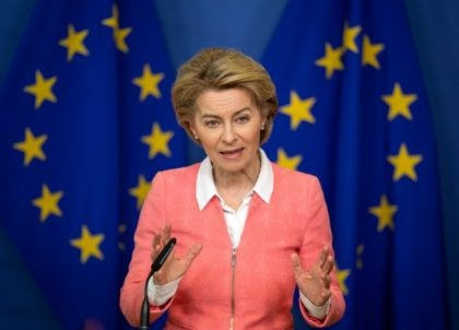 BRUSSELS, BELGIUM - MARCH 04: President of the European Commission Ursula von der Leyen holds a press conference following a meeting with Swedish environmentalist Greta Thunberg and the announcement of a new EU climate deal, at the European Commission on March 4, 2020 in Brussels, Belgium. (Photo by Leon Neal/Getty …