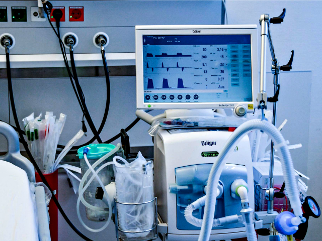A ventilator is pictured during a training in Hamburg, Germany, on March 25. The medical devices can be life-saving for patients with severe COVID-19 cases, but there aren't enough to meet the expected need in the United States. AXEL HEIMKEN / POOL/AFP VIA GETTY IMAGES