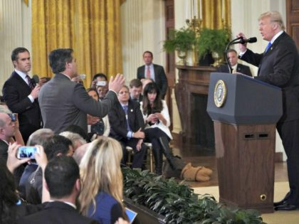 U.S. President Donald Trump gets into a heated exchange with CNN chief White House correspondent Jim Acosta on November 7, 2018 | Mandel Ngan/AFP via Getty Images