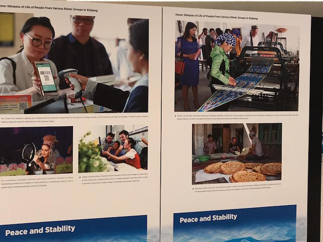 Chinese propaganda display at U.N. Human Rights Council in Geneva, Switzerland, March 5, 2020. With permission via World Uyghur Congress)