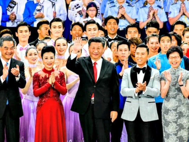 Xi Jinping at 20th anniversary celebrations of Hong Kong's handover, June 2017. Photograph: Keith Tsuji/Getty Image