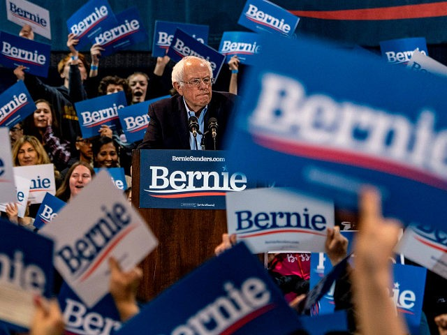 TOPSHOT - Democratic White House hopeful Vermont Senator Bernie Sanders speaks during a campaign rally at the Virginia Wesleyan University Convocation Hall on February 29, 2020 in Virginia Beach, Virginia. - Former vice president Joe Biden won the South Carolina primary on Saturday, reviving his flagging campaign and positioning himself …