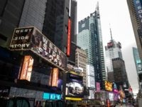 A poster on Times Square advertises West Side Story at the Broadway Theater on February 7, 2020 in New York City. - Westside Story is returning to Broadway for the first time in more than a decade, directed by Belgian Ivo Van Hove. (Photo by Johannes EISELE / AFP) (Photo …