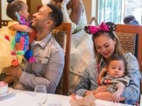 ANAHEIM, CALIFORNIA - APRIL 12: In this handout image, John Legend, Chrissy Teigen, their daughter Luna and son Miles share a moment with Princess Tiana during the Disney Princess Breakfast Adventures at Disney's Grand Californian Hotel on April 12, 2019 in Anaheim, California. (Photo by Joshua Sudock/Disneyland Resort via Getty …