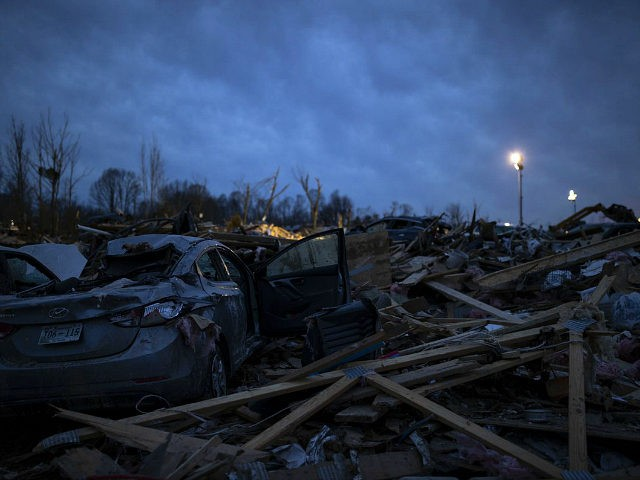 COOKEVILLE, TN - MARCH 04: Piled debris surrounds foundations left after a tornado early Tuesday morning on March 4, 2020 in Cookeville, Tennessee. A tornado passed through the Nashville area early Tuesday morning which left Putnam County with 18 killed and 38 unaccounted for. (Photo by Brett Carlsen/Getty Images)