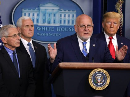 WASHINGTON, DC - FEBRUARY 29: Centers for Disease Control and Prevention Director Robert Redfield speaks as National Institute for Allergy and Infectious Diseases Director Anthony Fauci, Vice President Mike Pence, and U.S. President Donald Trump listen during a news conference at the James Brady Press Briefing Room at the White …