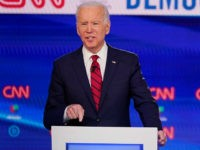 Former Vice President Joe Biden, participates in a Democratic presidential primary debate at CNN Studios, Sunday, March 15, 2020, in Washington. (AP Photo/Evan Vucci)