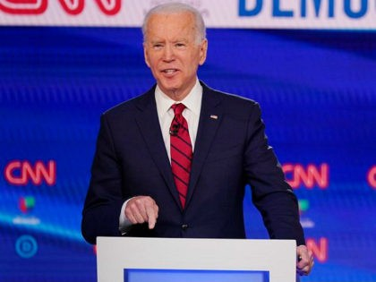 Former Vice President Joe Biden, participates in a Democratic presidential primary debate at CNN Studios, Sunday, March 15, 2020, in Washington. (AP Photo/Evan Vucci)