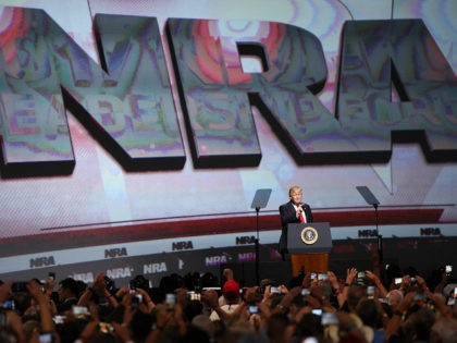 FILE - In this April 28, 2017 file photo, President Donald Trump speaks during the National Rifle Association-ILA Leadership Forum, in Atlanta. As NRA prepares to gather for its 147th annual meeting in Dallas, the political landscape has changed considerably in the past year. Even with a GOP-led Congress and …