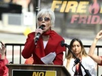Actress Jane Fonda addresses the crowd during a Fire Drill Fridays rally protesting neighborhood oil drilling, Friday, March 6, 2020, in the Los Angeles Harbor neighborhood. (AP Photo/Chris Pizzello)