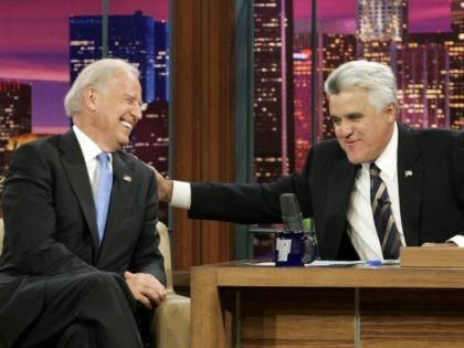 "Host Jay Leno, right, and Democratic vice-presidential candidate Joe Biden chat during taping of ""The Tonight Show With Jay Leno"" at NBC Studios in Burbank, Calif., Thursday, Oct. 16, 2008. (AP Photo/Reed Saxon)"