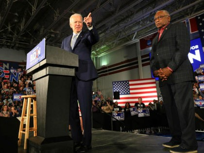 COLUMBIA, SOUTH CAROLINA - FEBRUARY 29: Democratic presidential candidate former Vice President Joe Biden, with Rep. Jim Clyburn (D-SC) (R), speaks on stage after declaring victory in the South Carolina presidential primary on February 29, 2020 in Columbia, South Carolina. South Carolina is the first-in-the-south primary and the fourth state …