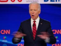 Democratic presidential hopeful former US vice president Joe Biden gestures while he answers a question as he and Senator Bernie Sanders take part in the 11th Democratic Party 2020 presidential debate in a CNN Washington Bureau studio in Washington, DC on March 15, 2020. (Photo by MANDEL NGAN / AFP) …