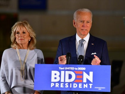 PHILADELPHIA, PA - MARCH 10: Democratic Presidential candidate former Vice President Joe Biden addresses the media and a small group of supporters with his wife Dr. Jill Biden during a primary night event on March 10, 2020 in Philadelphia, Pennsylvania. Six states - Idaho, Michigan, Mississippi, Missouri, Washington, and North …